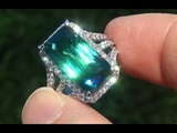 GIA Certified Natural FLAWLESS Neon Blue Zircon &amp Diamond 18k Gold Vintage Ring - A141413