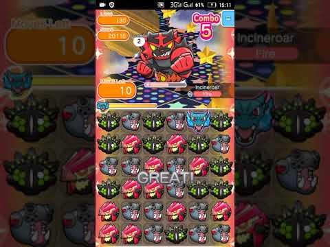 Pokemon Shuffle - Incineroar Escalation Battle 130 lvl