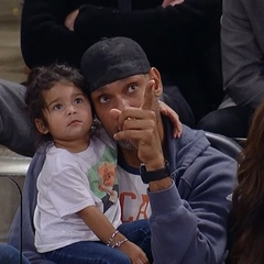 """NBA on Instagram: """"Timmy & his daughter take in some @spurs action! 💖"""""""