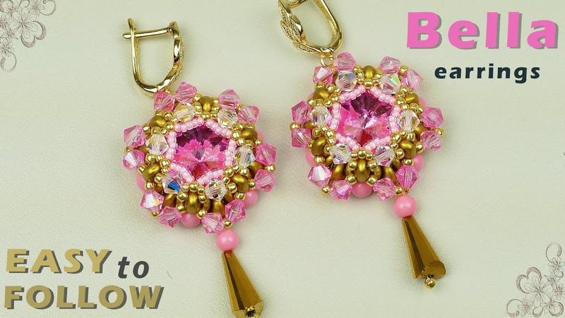 DIY Beaded earrings with 14 mm rivolis tutorial