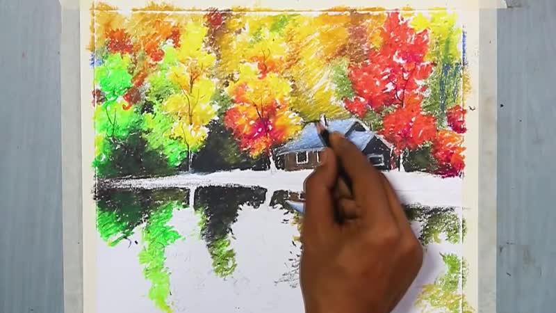Рисуем осенний пейзаж масляной пастелью.