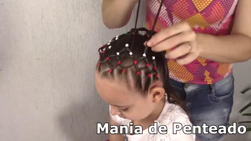 Penteado Infantil de Natal com redinha de ligas e amarração com tranças de duas pontas
