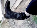 Pulling my wet rare soviet Red bogatyr 78 Ex H W 43 rubber boots pouring water
