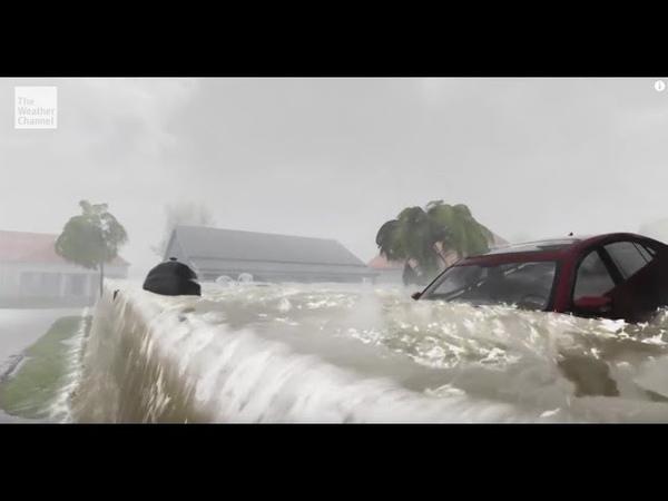 Последствия урагана Флоренс на восточном побережье США. Consequences of Hurricane Florence