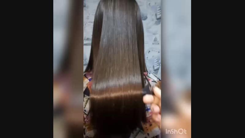 Кератин состав смыт и волосы высушены просто феном