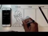 Художник рисует человека-паука за 10 минут, минуту и 10 секунд
