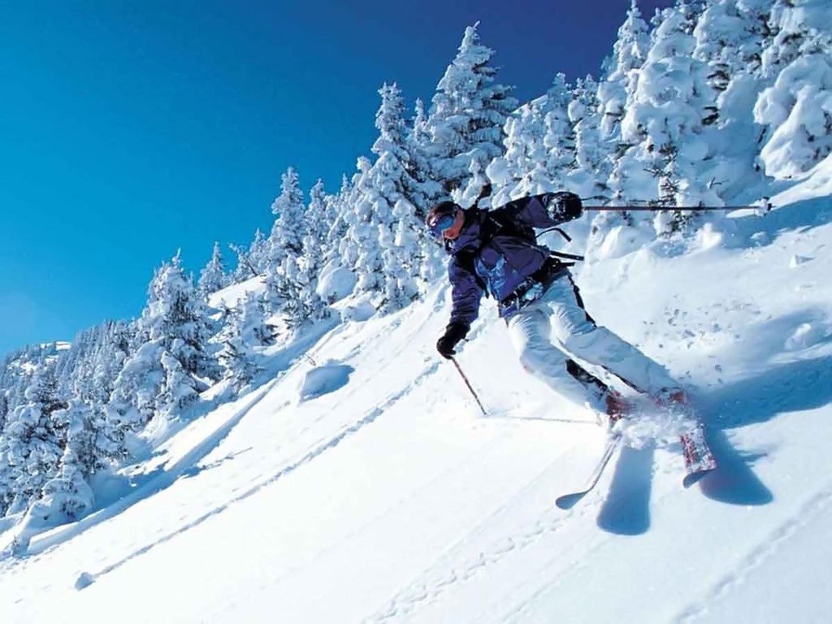 с горы на лыжах