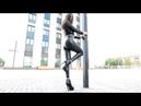 High heels Leather Leggings Sport girl in Latex Leggings