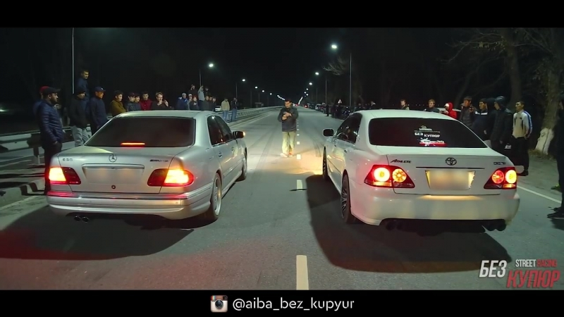 Битва без купюр GTR R33 Godzilla 700hp vs EVO9 700hp MB W210 55 AMG vs Toyota Crown