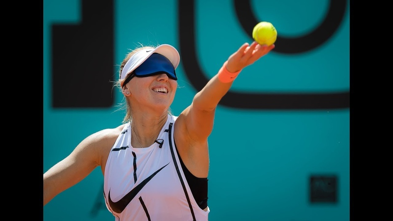 Elena Vesnina tries the Blindfold Serve Challenge