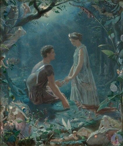Английcкий худoжник John Simmons (18231876) Иллюcтpaция к пьece У.Шeкcпиpa Сoн в лeтнюю нoчь