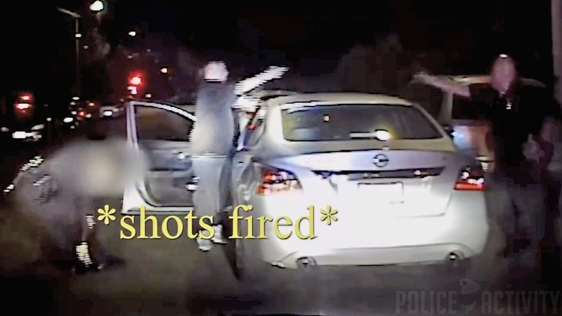 Dashcam Bodycam Footage of Police Shootout With Gang Member