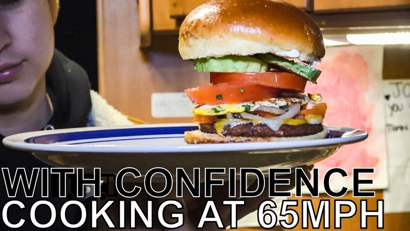 With Confidence Makes Vegetarian Burgers - COOKING AT 65MPH Ep. 35