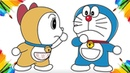 Coloring Page Doraemon and Doremi Animation Cartoon For Children : Drawing And Coloring