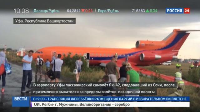 Новости на Россия 24 • В Уфе самолет выкатился за пределы ВПП: пассажиры рассказали о панике на борту