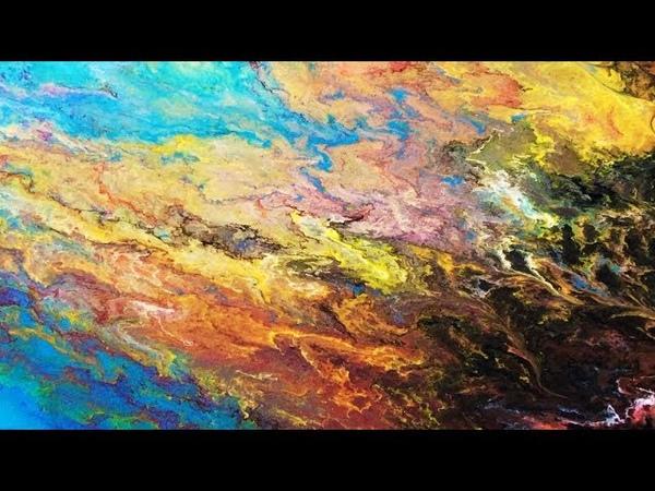 Acrylic pour Tutorial of War and Peace, Fluid art on 9 x 12 canvas