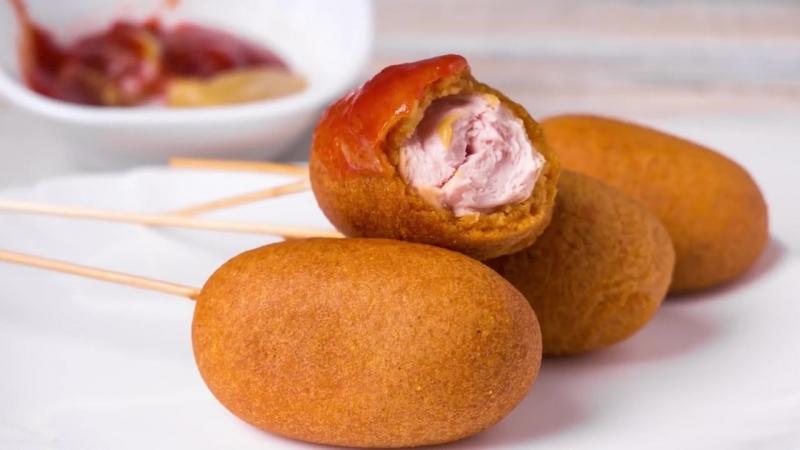 КОРН-ДОГ - Рецепт сосиски в тесте на палочке