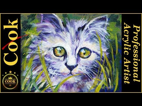 Jungle Kitty Kitten Acrylic Painting Tutorial with Ginger Cook