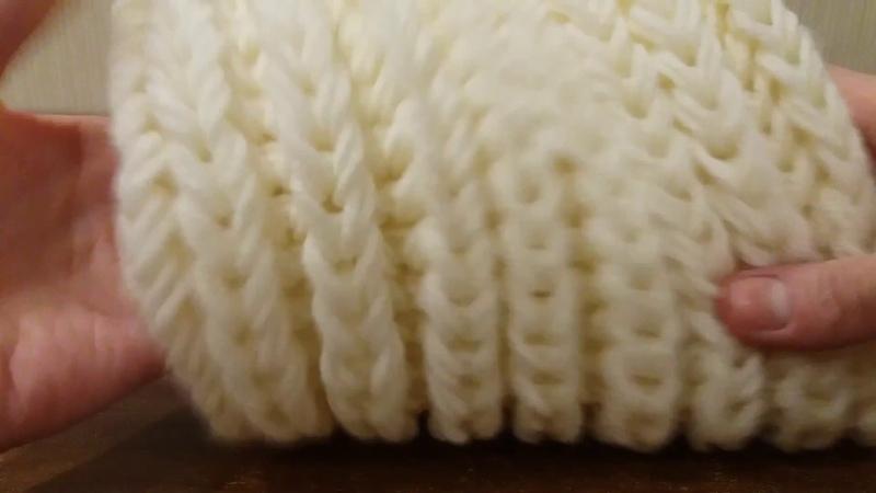 Вязание шарф снуд хомут спицами объемная английская резинка без накидов