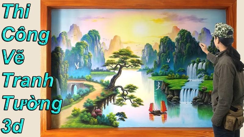 Vẽ tranh tường 3d, phong cảnh sơn thủy, MỸ THUẬT VIỆT Thi công và dạy vẽ tranh tường