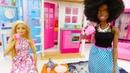 Видео для детей утро куклы Барби и Кары. Одевалки
