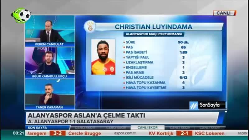 Alanyaspor 1 1 Galatasaray ¦ Uğur Karakullukçu Yorumları Galatasarayın Şampiyonluk Şansı