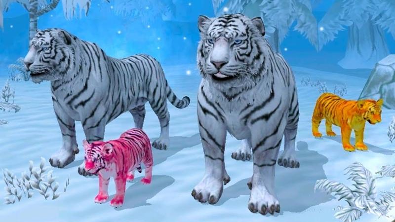 СИМУЛЯТОР ДИКОЙ КОШКИ 23 Семья белого ТИГРА - Игровой мультик про животных ПУРУМЧАТА