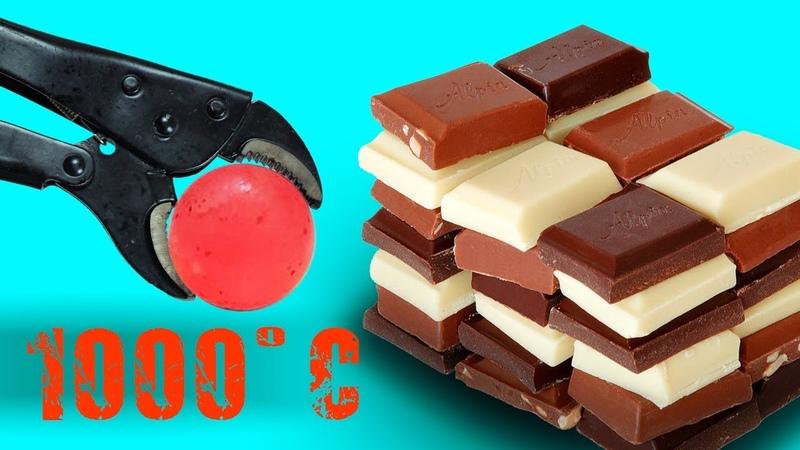 EXPERIMENT Glowing 1000 Degree Metal Ball vs Chocolate | Life Hacks Experiments