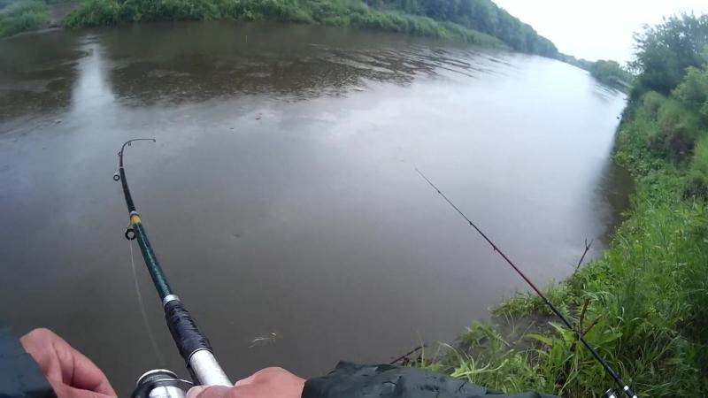 Далматово, Исеть -рыбалка в дождь (июль 2018), музыка Ryan Farish - Aperture