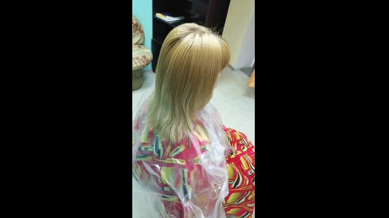 окрашивание русый пепельно-фиолетовый и ботокс волос