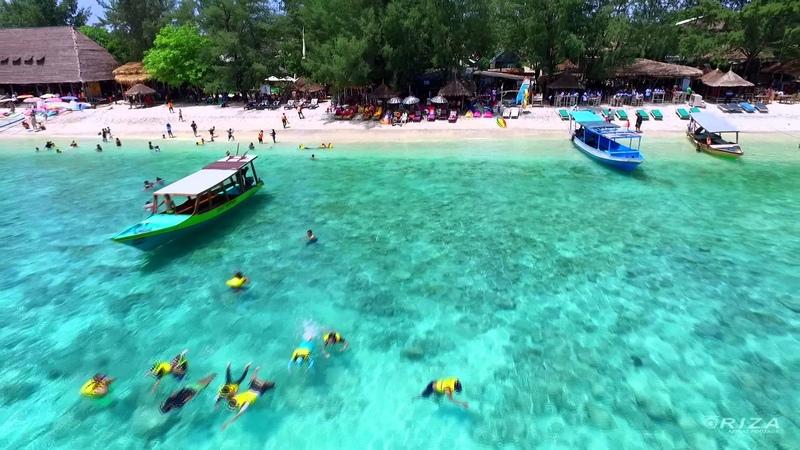Aerial video pantai tanjungan Gili Trawangan Lombok Indonesia