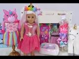American Girl Doll Bedroom with Unicorns &amp Rainbows