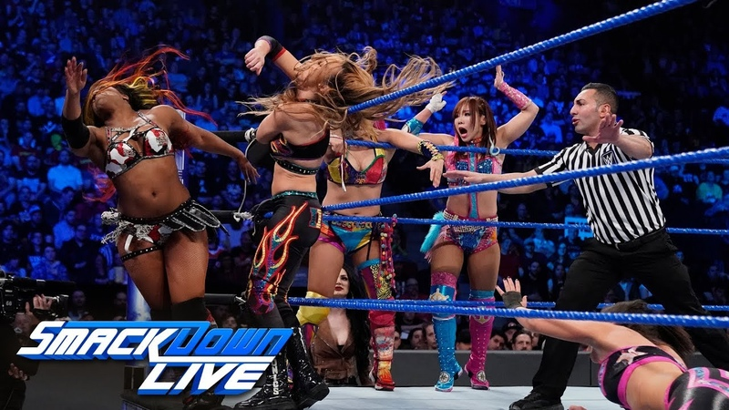 Video@kayroyce | Asuka, Sane, Bayley Moon vs. The IIconics, Rose Deville: SmackDown LIVE, April 16, 2019
