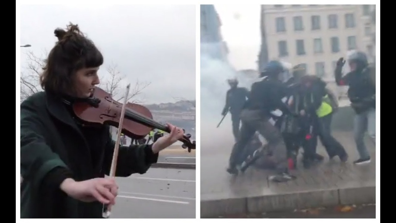Chaos, tear gas, violence and... music: Surreal scenes at Yellow Vest protest in Lyon