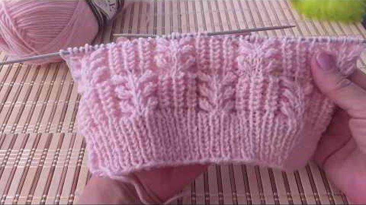 Вязание спицами. Гиацинт с объемной резинкой.