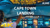 AIR FRANCE A340 LANDING AT CAPE TOWN IN 4K WITH ATC