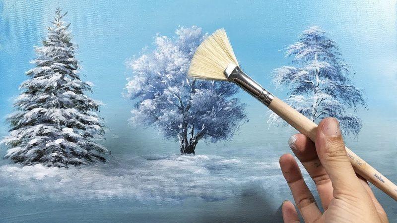 How to Draw a Beautiful Winter Tree with Fan Brush - Lesson 17