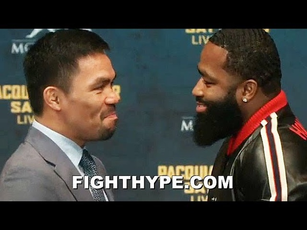 ADRIEN BRONER AND MANNY PACQUIAO COME FACE TO FACE FOR FIRST TIME AND LAUGH AT EACH OTHER