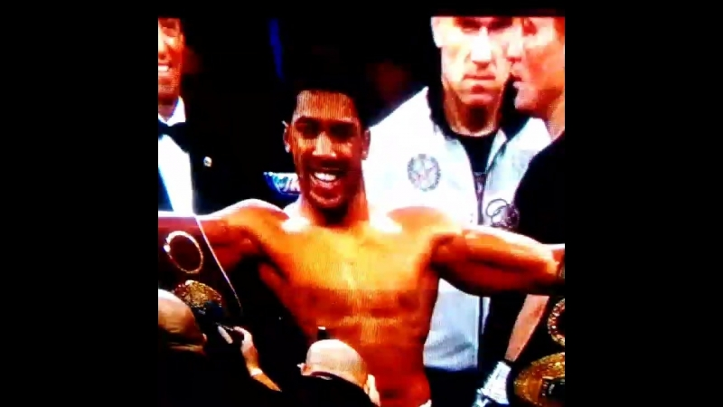 Im happy! Anthony Joshua defended his title of the World SuperHeavyweight Champion (WBO, WBA, IBF, IBO)