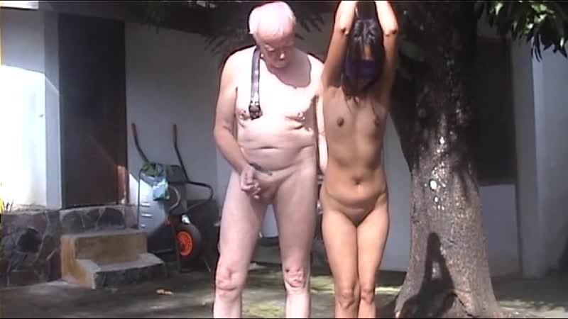 Old man punishes young slaveslut