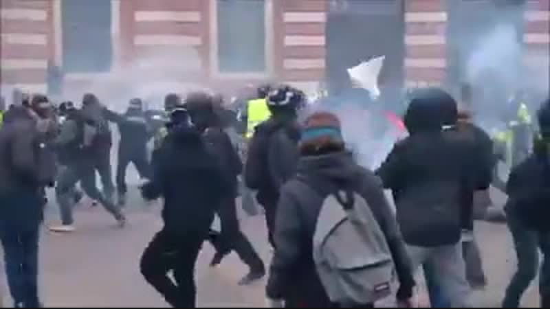 The man in the riot is immediately rescued
