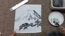 すみする動画018「年賀状の定番と言えばやっぱりこれ! 松と富士を描 1