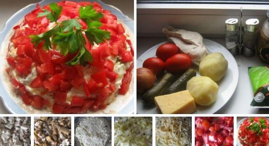 Слоеный салат с курицей «Красная шапочка»