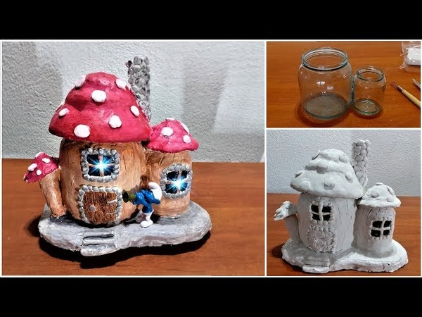 DIY a Fairy Mushroom House with Lamp using Jars