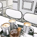 Очень свежее и необычное оформление кафе под названием Chuseok Holidays…