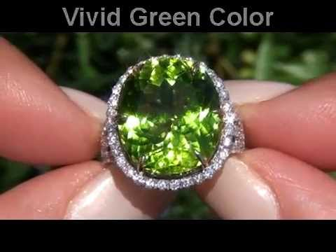 The finest Certified Earth Mined Peridot Diamond Ring Set In Solid 14K White Yellow Gold