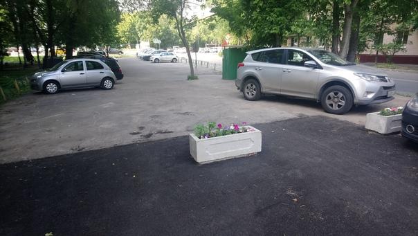 Красивая бетонная клумба разграничивает парковку и украшает безжизненное асфальтовое поле.  19 июня 2018
