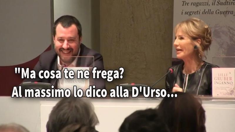Salvini e la Gruber scherzano alla presentazione del libro 'Inganno'