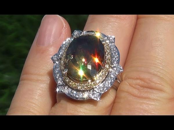 GIA Certified VS1 Color Change FLASH Demantoid Garnet Diamond 14k Gold Ring GEM - A131365