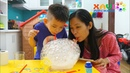 After dinner, Xavi played bubble with mommy - Science game for baby